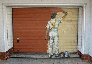 Ворота гаражные рулонного типа с элементами декора.